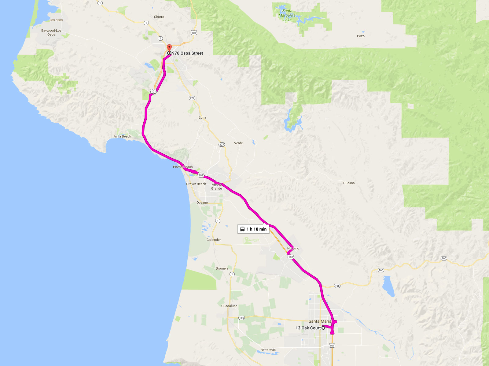 Route  San Luis Obispo To Santa Maria San Luis Obispo Regional - Us highway map route 10
