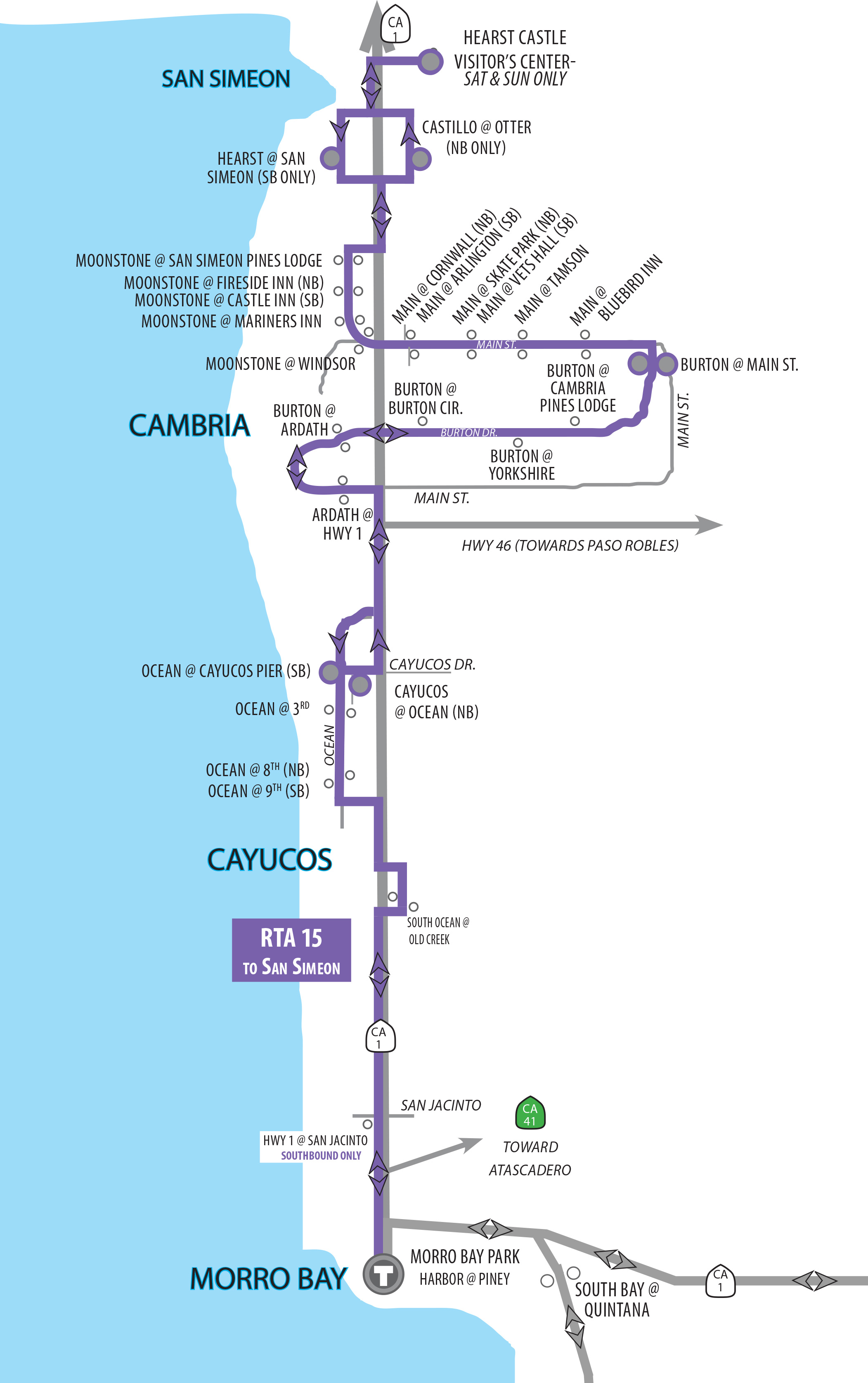 Route 15 Morro Bay, Cayucos, Cambria, San Simeon. NEW! Cayucos-Morro on massachusetts bay transit authority map, central of georgia map, massachusetts bay transportation authority map, go street map, new jersey transit map, toronto ttc map, subway transit map, go train mississauga map, norfolk southern map, sound transit map, metro transit map, toronto streetcar system map, peterborough transit map, calgary transit map, vaughan transit map, toronto transit map, nj transit map, metropolitan atlanta rapid transit authority map, dallas area rapid transit map, bay area rapid transit map,